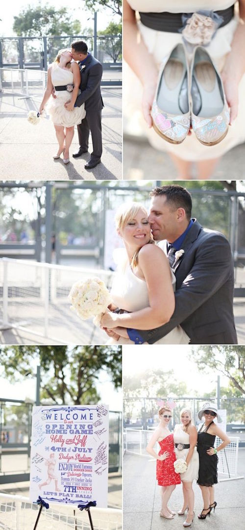 First look photo shoot and wedding at the Dodgers Stadium in Los Angeles.