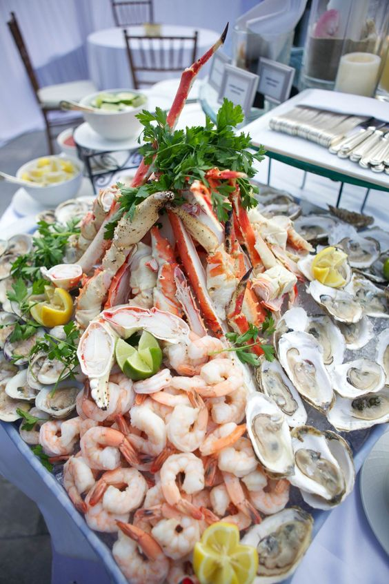Hamachi crudo and Pacific sea bass plus plenty of delicious shellfish to feed your wedding reception guests. Photo by Christine Bentley. Luxury hotel Shutters on the Beach, Santa Monica, California.