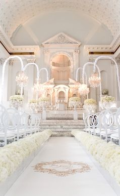Elegant and majestic white wedding venue at the Vibiana Cathedral in L.A.