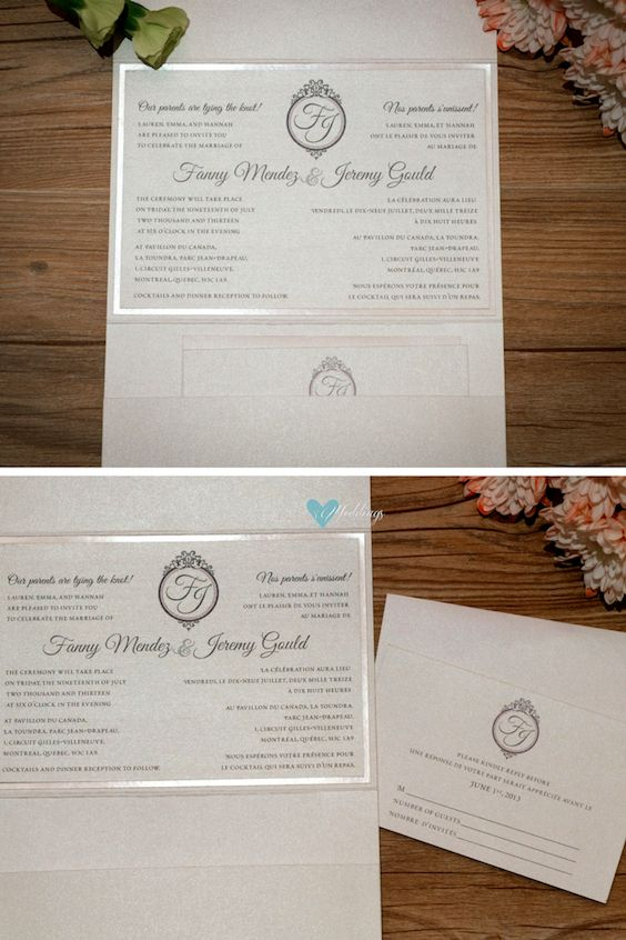 Bilingual invitation side-to-side. Delicate looking and perfect for a pocketfold.