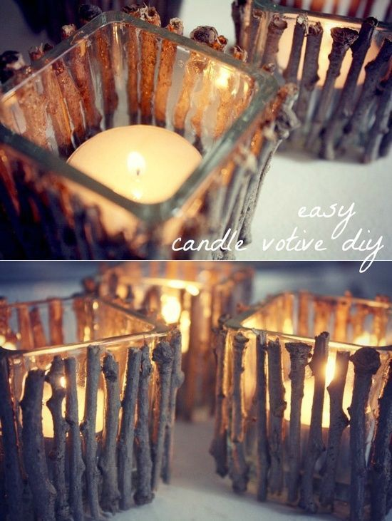 DIY candle holder: Hot glue twigs to a Dollar Tree glass votive. Let it dry. Add a flameless pillar candle. Voilá!