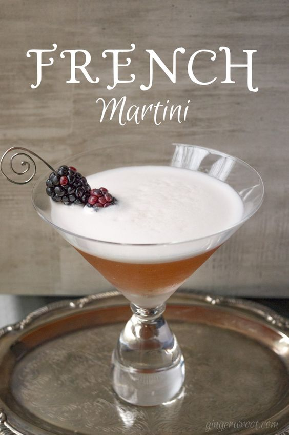 French Martini is made with Chambord, vodka, and pineapple juice. Check out the recipe on the blog.