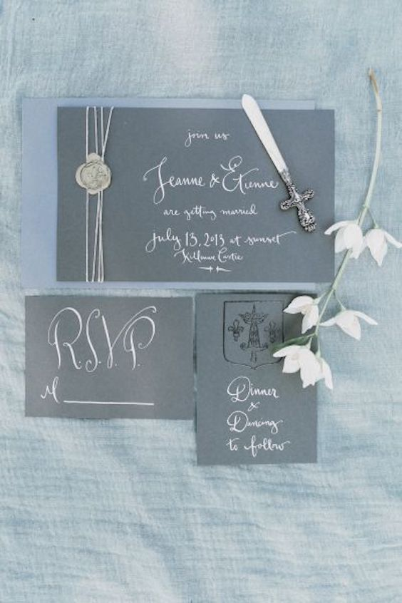 Grey invitations. Photography: Darcy Benincosa.
