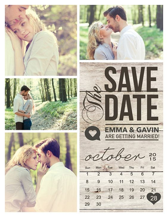 Modern Save The Date magnet postcard.