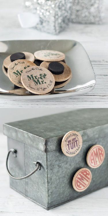 Personalized Wooden Wedding Magnets Are The Perfect Keepsake For Bride And Groom All