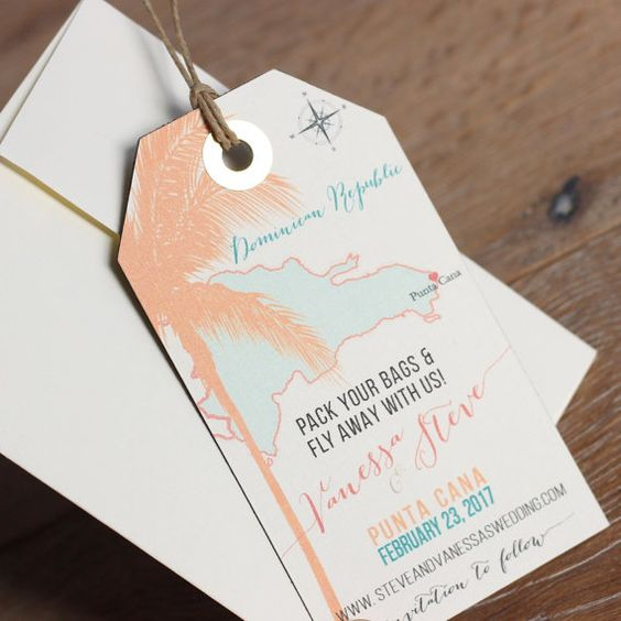 These Punta Cana Save the Date magnets with your marriage location marked with a heart will make a great first impression.