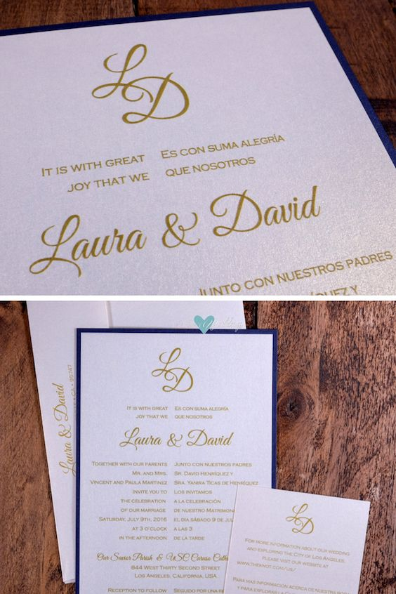 Spanish and English Wedding Invitation.