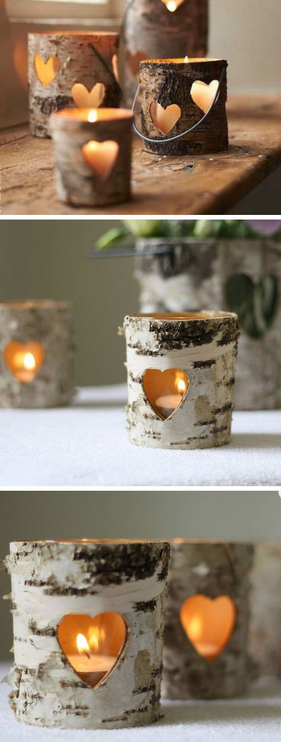 Bark heart lanterns are perfect for rustic weddings. You can get these candle holders at your local home decor store.