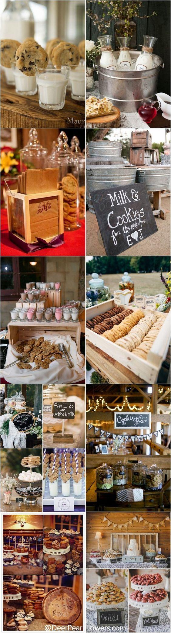 Galletas con leche y barras de donuts. Una tendencia que pisa fuerte en las bodas. Un postre delicioso y de bajo costo. ¿Qué mejor que un manojo de galletas y donuts?