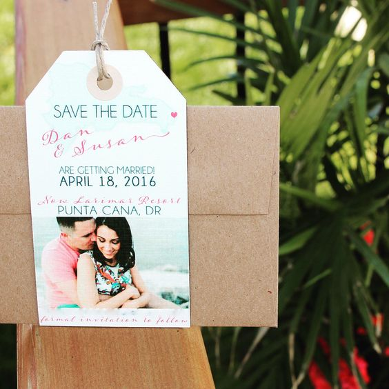Natural beach theme Save the Date luggage tag magnet with map and a photo.