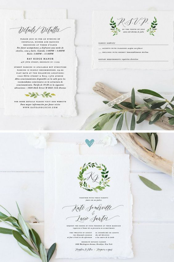 Bilingual Wedding Invitations With The Greenery Theme.