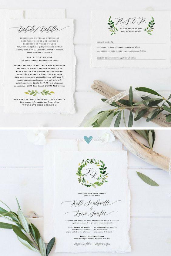 Bilingual wedding invitations with the greenery theme.