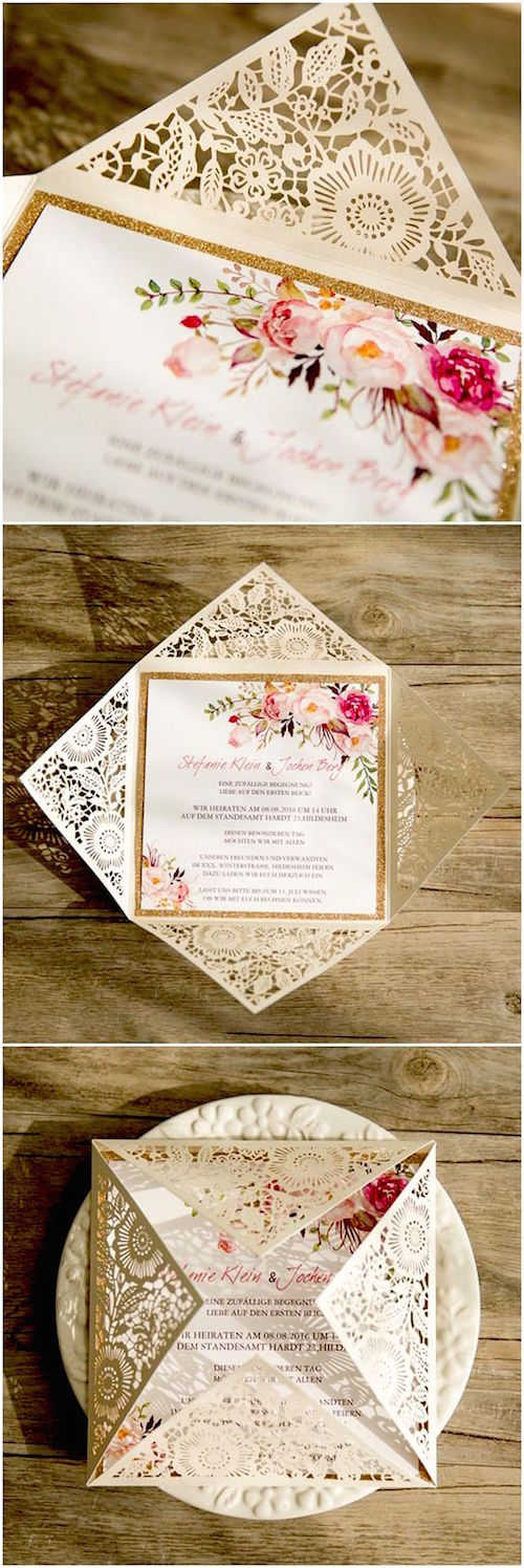 Laser cut bohemian spring flower wedding invitations.