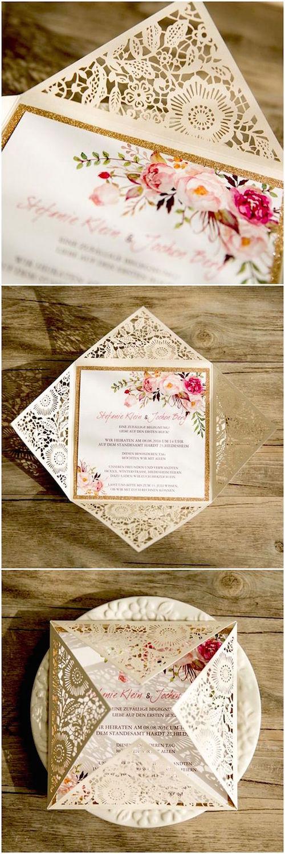 Laser cut bohemian spring flower wedding invitations.