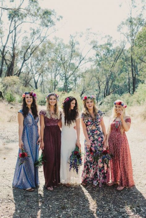 A thoughtfully styled bohemian wedding. Lovely boho floral bridesmaids dresses.