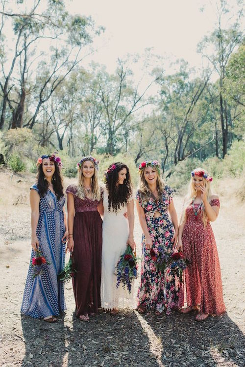 How to plan a boho wedding a trend thats here to stay a thoughtfully styled bohemian wedding lovely boho floral bridesmaids dresses junglespirit Choice Image