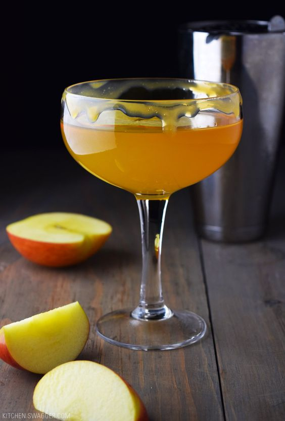 The caramel apple martini is a simple fall inspired cocktail made with salted caramel vodka, sour apple liqueur and apple cider.