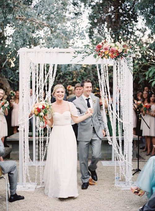 Make sure there will be space for your chain link Chuppah! Huron Substation, Los Angeles, CA. Wedding photographer: Jen Huang Photography.