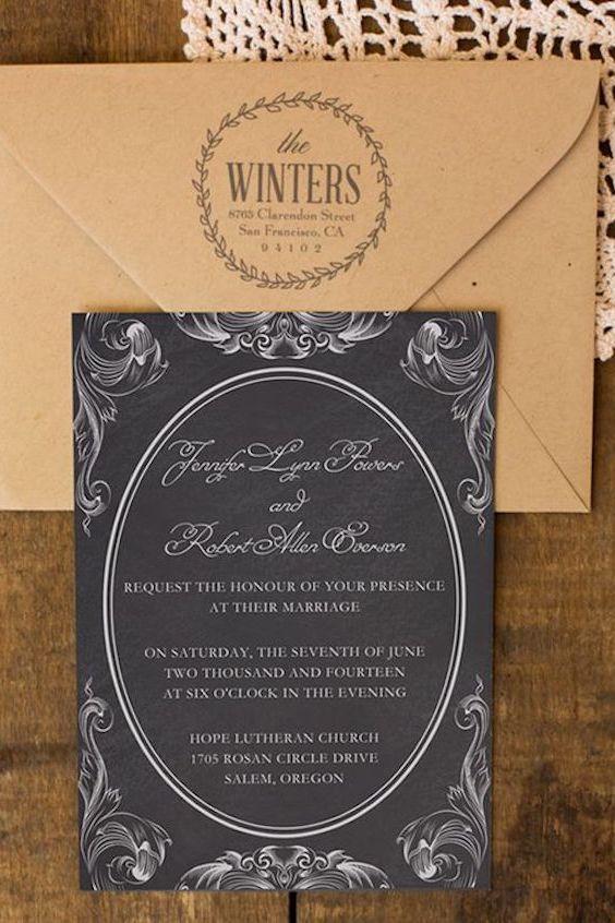 Rustic vintage white and black chalkboard wedding invitation cards.
