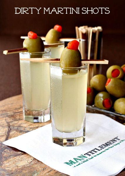 Dirty martini shots. Check out the recipe!