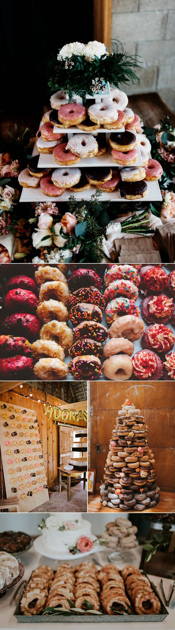 Divertidas y económicas, las donuts se incorporan a las bodas en las paredes, las mesas de postres y las tartas. Fotografía: Matt & Tish Photography, The Shalom Imaginative, Studio-29 Photography + Design, Olivia Strohm Photography, Jamie Jones Photography.
