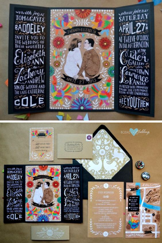 Original and festive cards. Easy to turn into bilingual wedding invitations. Print each fold with a different language.
