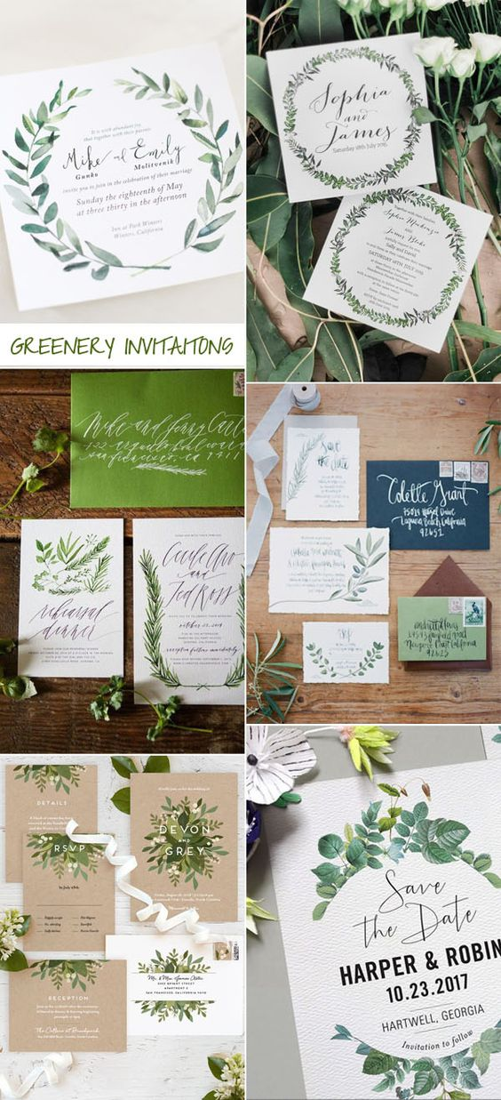 Simple and modern greenery wedding invitations. 2017 wedding trends.