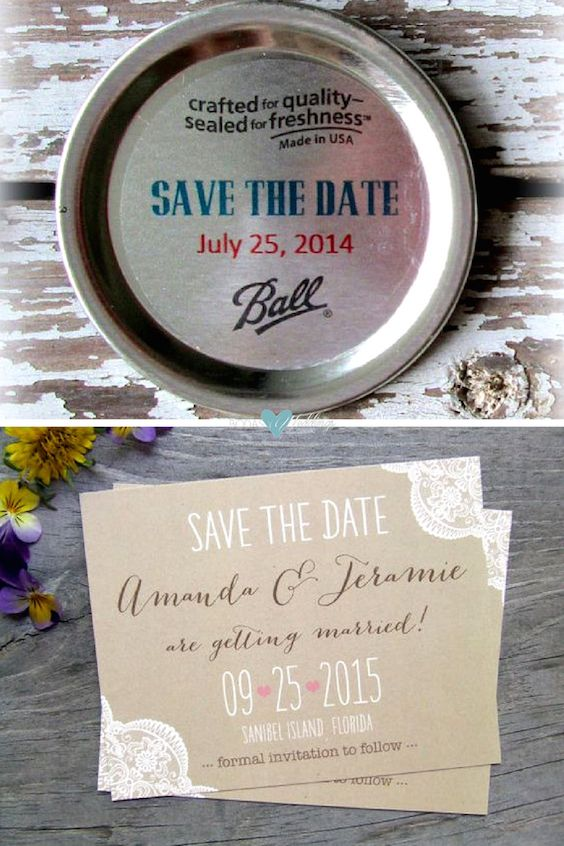 Learn how To DIY Save the Date magnets in only 10 minutes. Mason jar invite. Save the Date announcements.