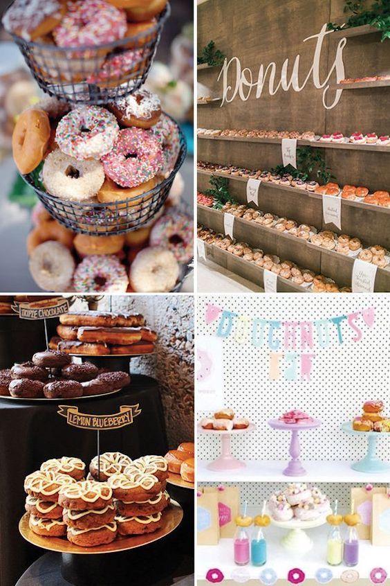Decora tu boda con estas fabulosas y económicas ideas de barras de donuts. Visita el blog para ver mas ideas.