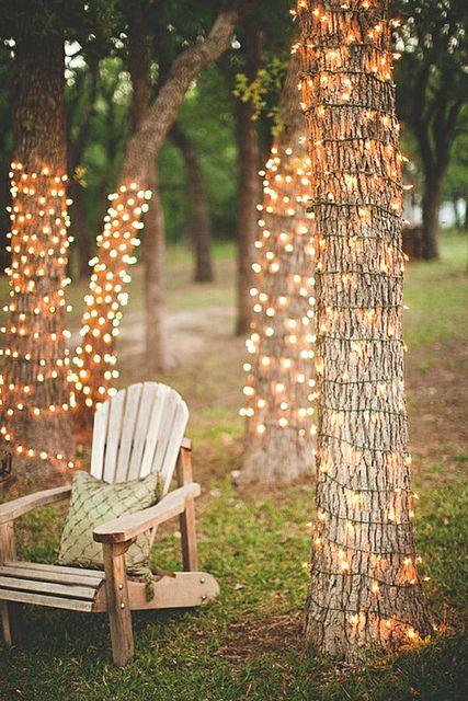 Para la iluminación de tu lounge inspírate en estas luces navideñas que llegan solo a la mitad de los troncos de los árboles.