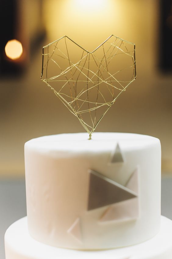 Urban geometric, industrial, DIY cake topper.
