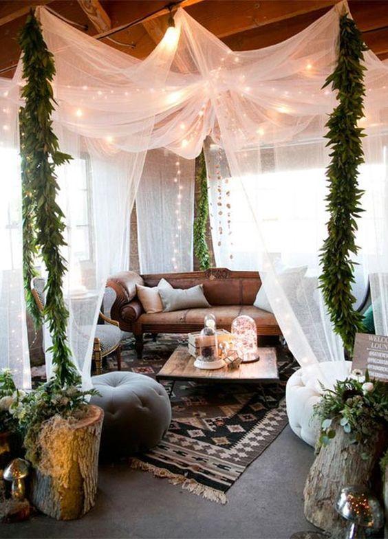 Un lounge para bodas super boho con aire marroquí.