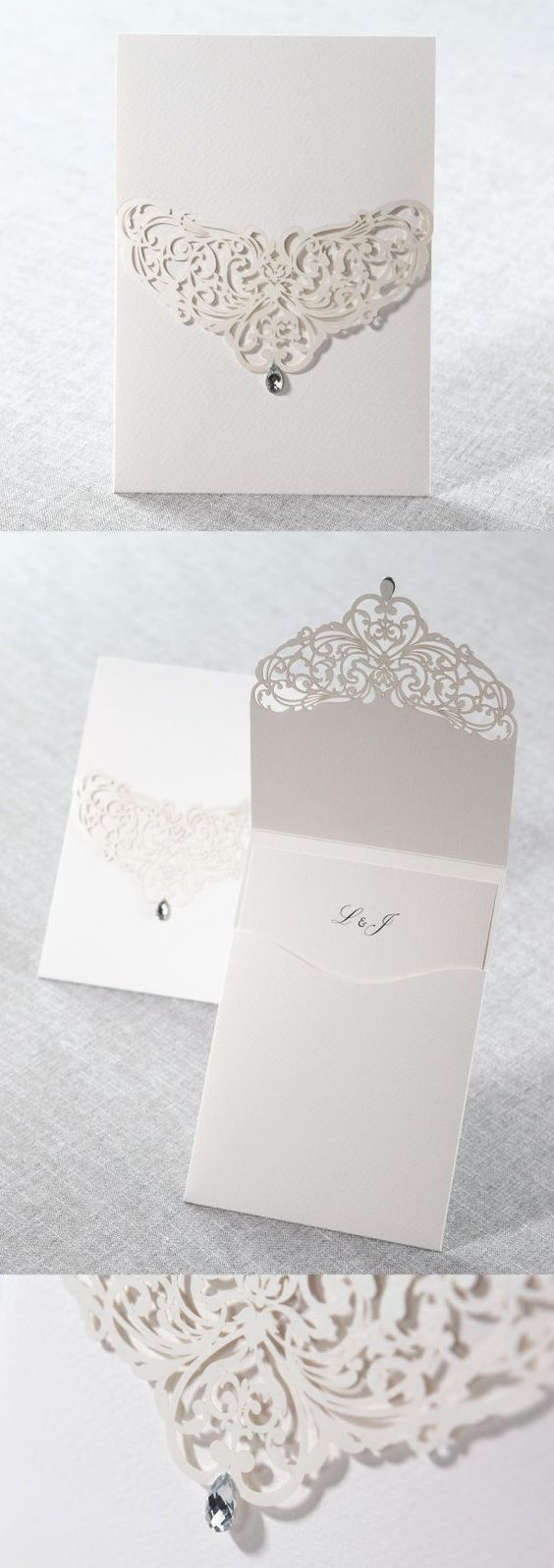 Remember to add the wedding venue address to your invitations. Elegant and luxurious white laser cut pocket wedding invitations.