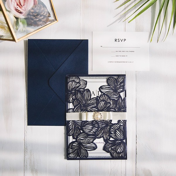 Elegant deep navy laser cut wedding invitations with embellishments and blue envelopes. $5.18 each. (BYWWS044)