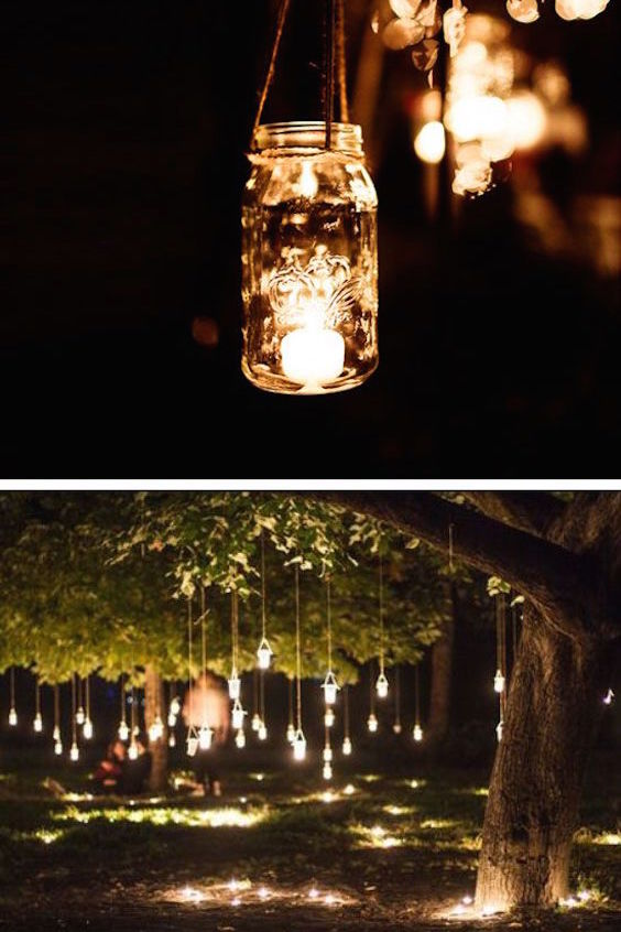 Hanging mason jar fairy lights. DIY outdoor wedding ideas on a budget.