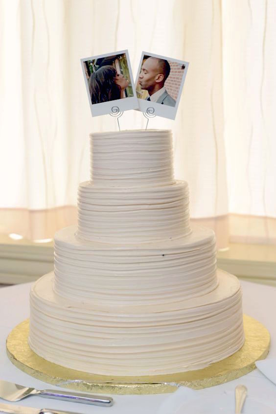 An original personalized DIY Polaroid wedding cake topper. Porter and Reel Photography, Jill Parmely.