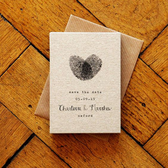 Wow your guests with this personalized handmade design and include your own prints on this fingerprint calligraphy Save The Date magnet.
