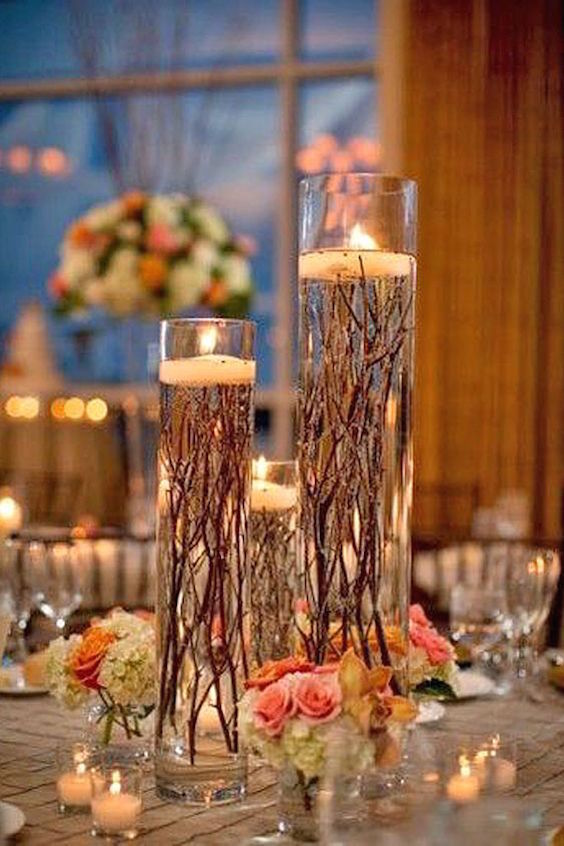 Candle lighted centerpieces for wedding receptions ideas
