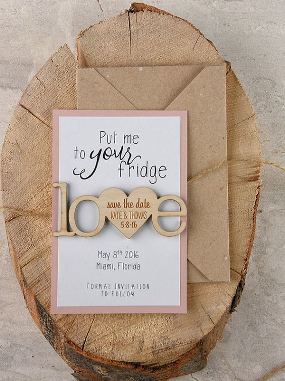 These rustic save the date magnets are so cute and they come with instructions!