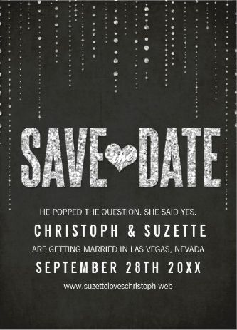Classy shimmering sparkle save the date in black and white to match your stylish wedding theme.