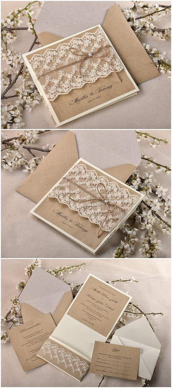Shabby chic lace and burlap rustic wedding invitation suite. Use the tumble format to make them bilingual!