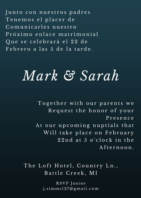 The top and bottom format for bilingual wedding invitations. This bilingual invitation has the information printed in one language version on top of the other and the couple's names printed just once.