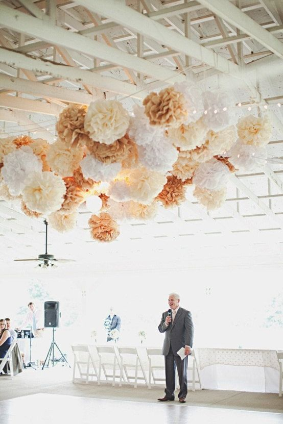 Wedding ceremony decor for raw spaces. 40 tissue paper poms.