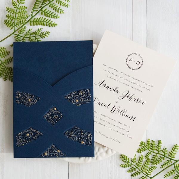 Elegant wedding invitations with navy blue and gold polka dots swirls, laser cut pockets