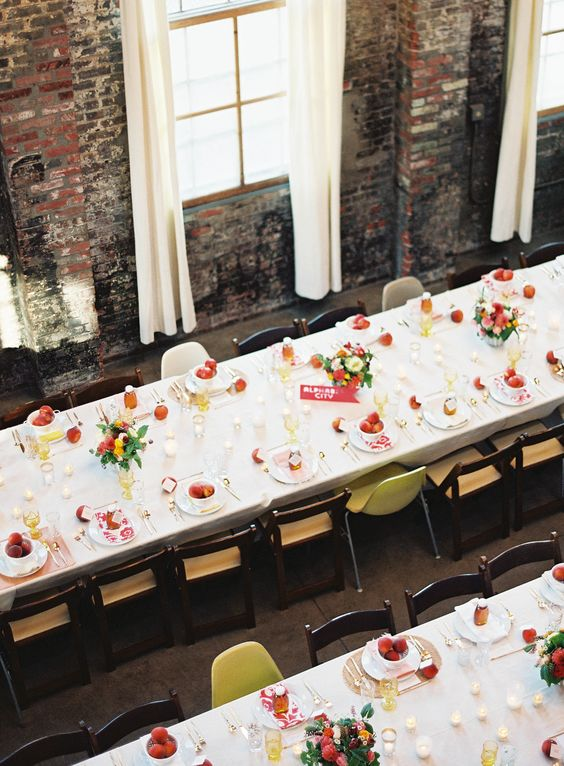 Wedding planning advice. Allow for space for the waiters to serve your guests. Love this tablescape shot! The pops of color are terrific. Wedding photographer: Jen Huang Photography
