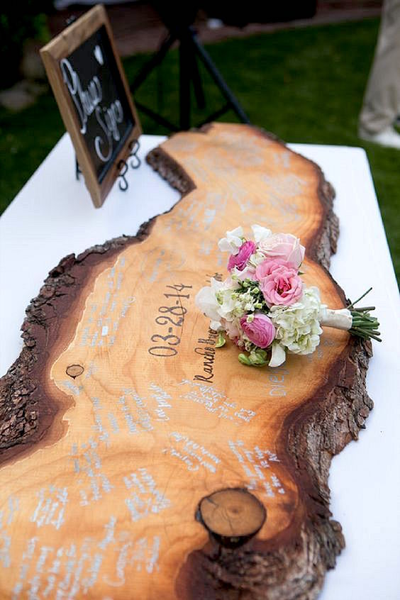 This wooden guest book is such an original idea.