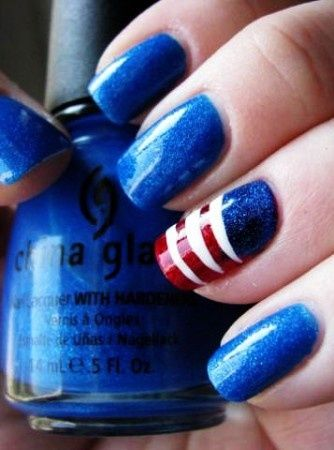 Create your 4th of July accent nail art, or party nails. Paint all ten nails and give just one of them a little extra pizzazz.