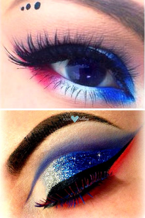Patriotic red, white and blue 4th of July makeup tutorial.