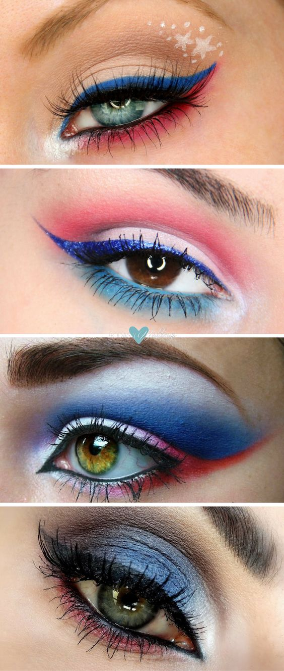 4th of July makeup ideas in red white and blue.