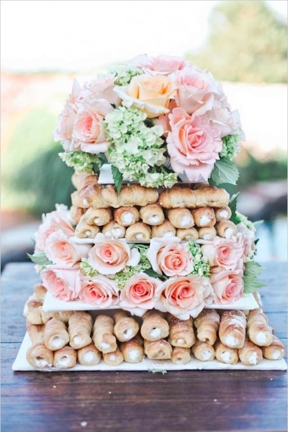 More and more couples are requesting bakers to create confections around their favorite sweet. Check out this Cannoli cake. Alternative wedding cake trends.